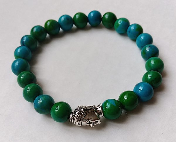 Women's buddha head bead bracelet in chrysocolla
