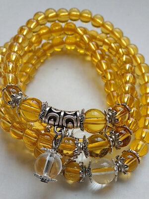 Suni - yellow crystal beaded stretch necklace bracelet