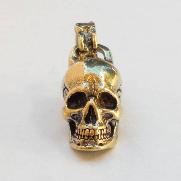 Anatomical Skull Keychain in Brass