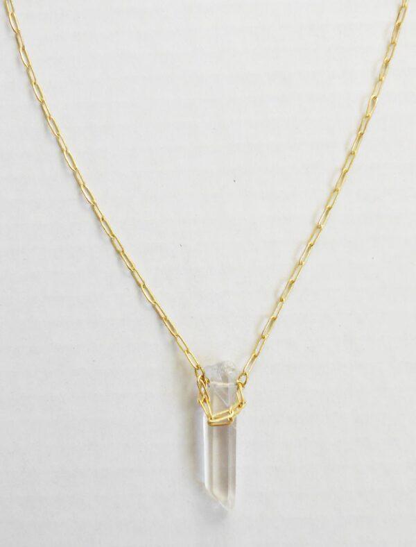 Art Deco Quartz Pendant Necklace