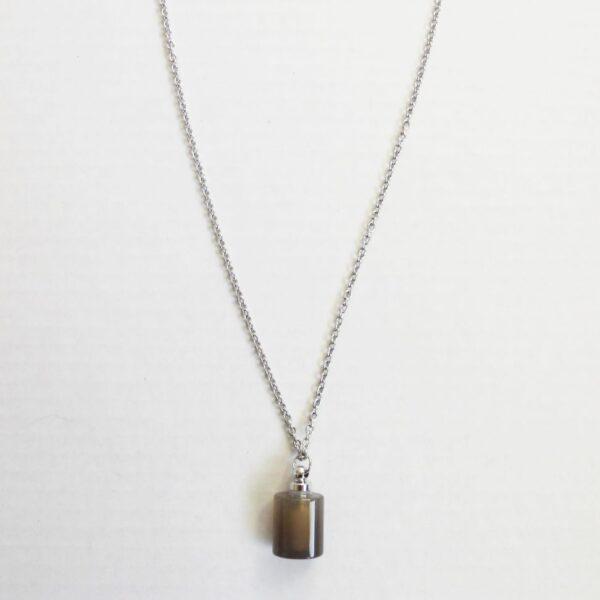 Grey agate mini flask pendant