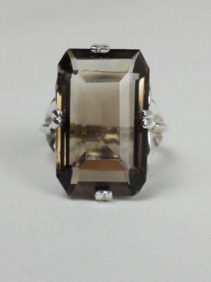 Smoky quartz gemstone ring