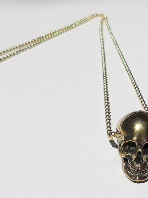 Anatomical Skull Pendant Necklace in Brass