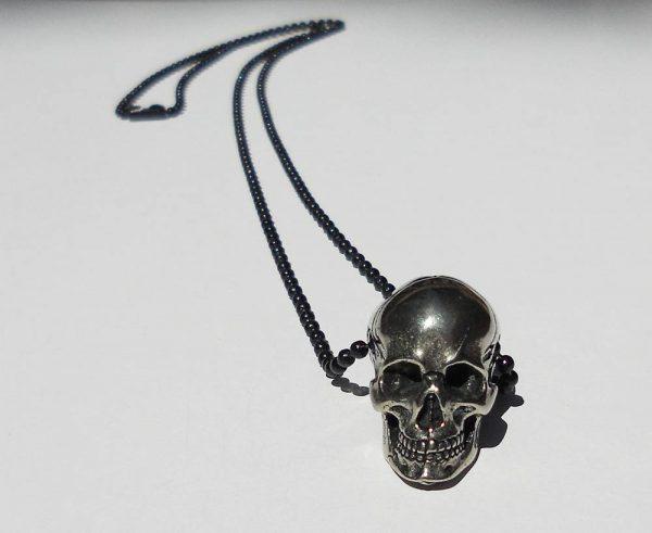 White copper skull pendant necklace for men