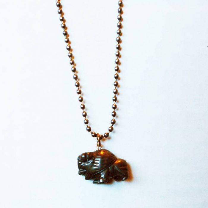 Hematite Bison Pendant Necklace Animal Welfare Collection for Shop Vegan Style