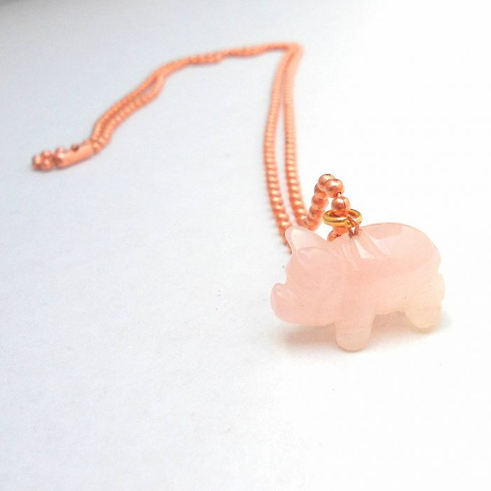 Rose Quartz Piglet Necklace Animal Rights Collection