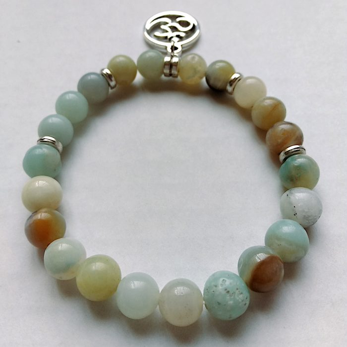 women's amazonite beaded bracelet with silver spiritual charm dangle