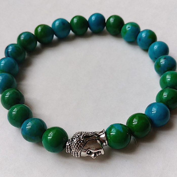 Women's buddha head bead bracelet in chrysocolla