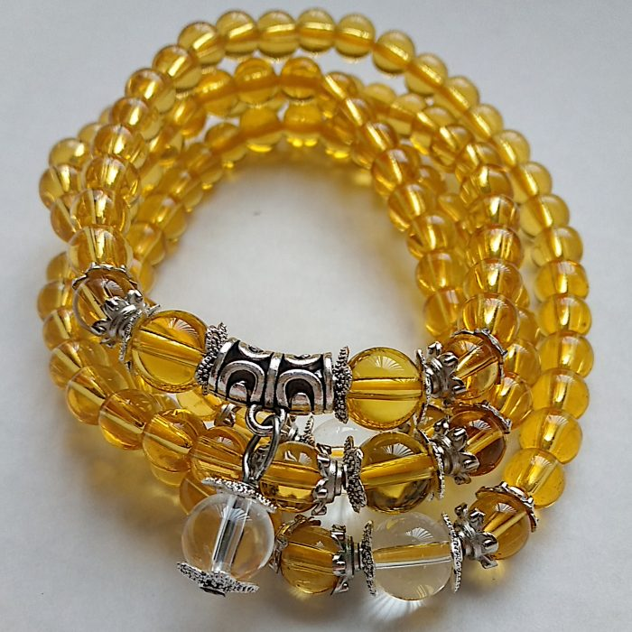 Suni - yellow crystal beaded stretch necklace bracelet